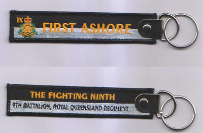 First Ashore Fighting Ninth 9Th Bn Rqr Key Tag With Ring 25Mm X 125Mm