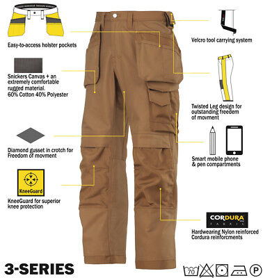 Snickers 3214 Trousers Canvas Holster Work Wear Trousers Snickers Direct Black