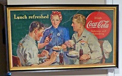 "Vintage 1943 Coca Cola Cardboard Advertisement ""Lunch Refreshed"" Framed WWII"