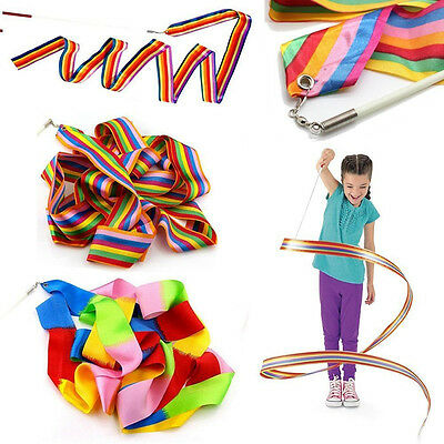 Children Art Gymnastic 4M Dance Ribbon Gym Ballet Streamer Twirling Rod Colorful