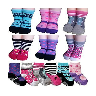 BSLINO Assorted 6 Pairs 12-24 Months Baby Girl Toddler Socks Non-Skid Anti Sl...