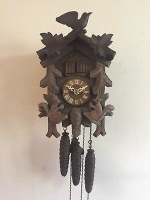 "Musical German 3 Weights Driven Movement Carved Wood Case Cuckoo Clock GWO 11""L"