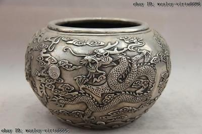 China White Copper Silver Lucky Dragon Play Bead kettle Tank Jar canister Pot