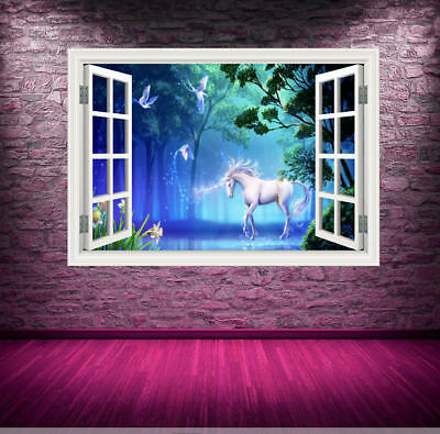 Full Colour Unicorn Window Wall Art Sticker Decal Transfer Graphic Murals WSDW1