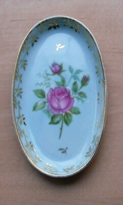 Vintage Meissner Limoges Oval Pin Dish No. P106 - Pale Green - Rose & Gilt - VGC