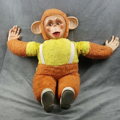 Monkey Plush Toy RUBBER FACE Chimpanzee Jee-Bee Creations Vintage Animal 21""