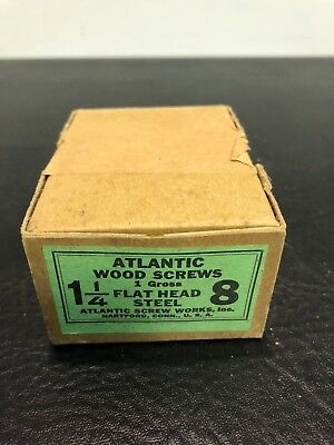 Vtg Atlantic #8 X 1 1/4 Inch Flat Head STEEL SLOTTED Wood Screws 112 box