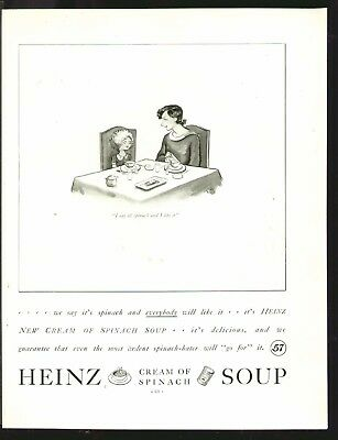 HEINZ Cream Of Spinach SOUP 1935 Original Print Ad