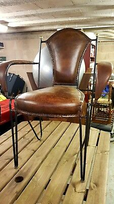 4X Handmade Leather and Cast iron chairs