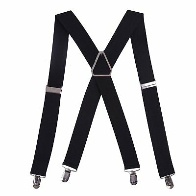 "Hde Men'S Big And Tall X-Back Clip Suspenders 1.5"" Wide Adjustable 55"" Long (Bla"