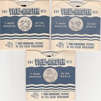 PAINTED DESERT PETRIFIED FOREST AZ(176-178)Viewmaster 3 reels SET vintage 1948
