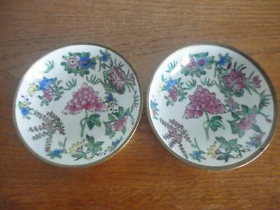 "Antique Brass Over Porcelain Plates Set Of Two Made In China 5""x 1 1/4"""
