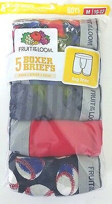 Fruit of the Loom 5 Pack Boys Boxer Briefs Size Medium (10-12)