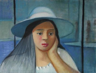 "perfect painting on the canvas ""blue hat girl"" beautiful painting very fast ship"