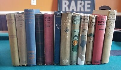 Lot of 12 ANTIQUE Old Vintage Rare Books Collection Set Decorative All Hardcover