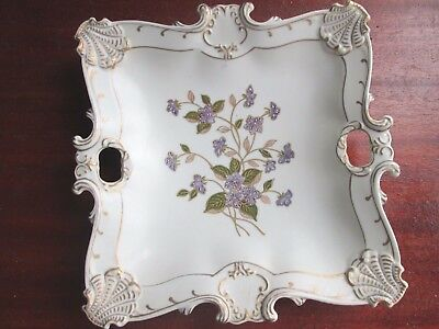 Lefton China Hand Painted Square Plate with Violets, Gold and Ivory Background