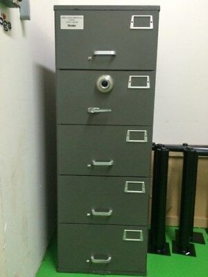 Mosler GSA Approved 5 Drawer File Cabinet With Combination Lock