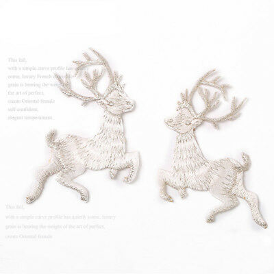 Embroidery Deer Lace Applique Sewing on Bridal Dress Trim Wedding Gown DIY Motif