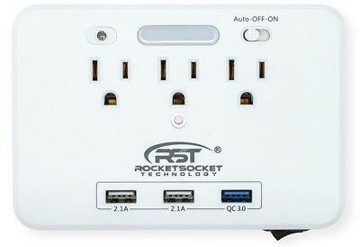 CRST Multiple-Outlets Wall Tap (900 Joules) Surge Protector with Dual USB Ports