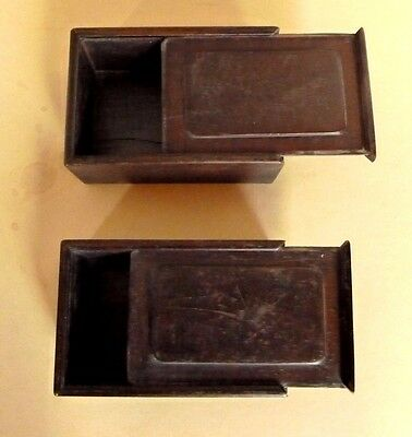 Vintage Chinese Classic Hard Wood Boxes Mid Century Lot of Two C. 1940's-1950