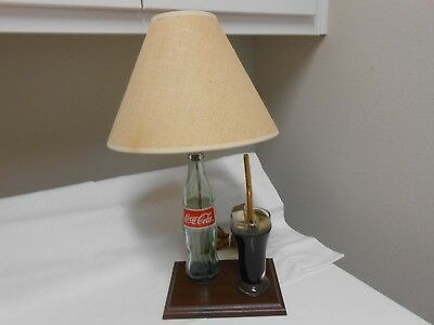 Coca Cola Lamp With Coke Bottle And Glass Of Imiation Coke Works Great