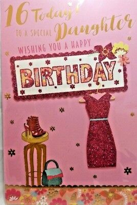 16th DAUGHTER BIRTHDAY CARD AGE 16 MODERN DRESS DESIGN QUALITY LOVELY VERSE