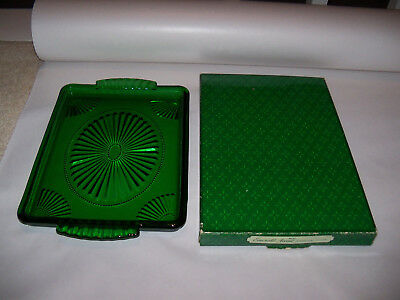 "Vintage Avon Emerald Green Square Glass Beaded 10"" Serving Tray Or Platter"