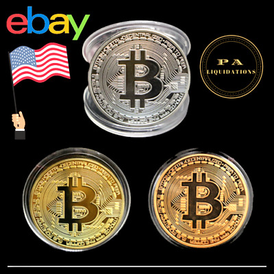 Bitcoin Gold Plated Physical Commemorative Bitcoin In Protective Ac 3 each color