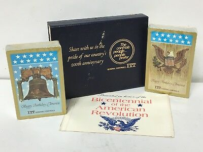 ITT Bicentennial American Revolution Double Pack Playing Cards Sealed Industrial