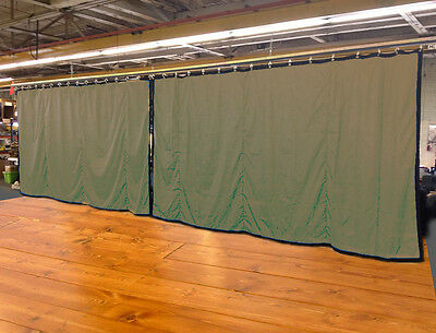 Lot of (2) Tan Curtain/Stage Backdrop, Non-FR, 9 H x 20 W