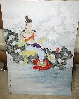 Antique Chinese Original Buddha Watercolor Rice Paper Painting Scroll Panel OOAK