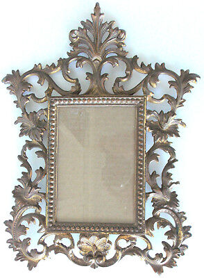 Vintage Victorian Brass Ornate Picture Frame Rococco Metal Floral