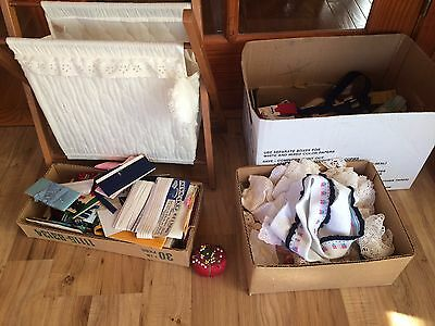 Vintage Folding Sewing Knitting Basket & Large Lot Of Sewing Items