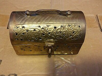 "029 Vintage Brass Treasure Chest Style Trinket Box With Handle Cute 6"" Long"