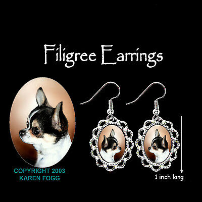 CHIHUAHUA DOG Smooth TRI COLOR - SILVER FILIGREE EARRINGS Jewelry