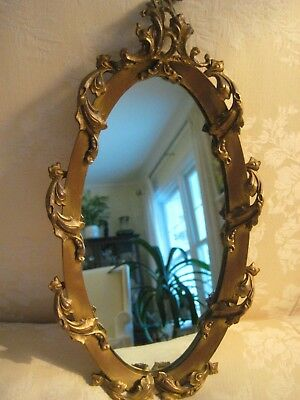 Antique Elegant Ornate French Style Gilt Brass/Bronze Oval Wall  Mirror /Tray