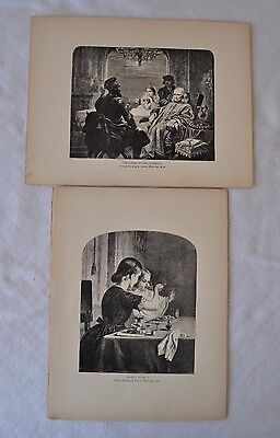 Pair of ENGRAVINGS, c1900 - paintings by CHARLES WEST COPE, good subject matter