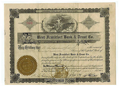 West Frankfort Bank & Trust Co. 1916 Stock Certificate. #100