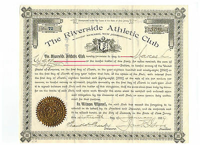 The Riverside Athletic Club 1889 Stock Certificate Great Condition!!!