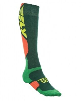 Fly Racing Thick MX Pro Socks Boot Length Men's Green/Orange Choose Size