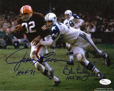 Jim Brown & Bob Lilly Dual Signed 8x10 Autographed Photo Reprint