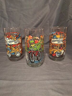 Set of 3 McDonalds 1981 The Great MUPPET Caper Collector Series Glasses
