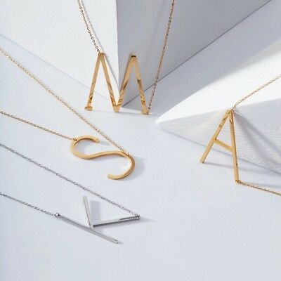 Alphabet letter Name necklace stainless steel Gold UK Fast shipping