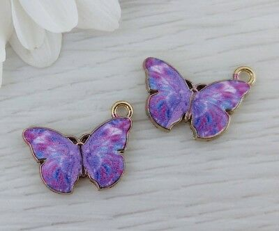 Purple Butterfly Enamel Charms 2pcs - Insect Charm - Jewelry Supply   CH415