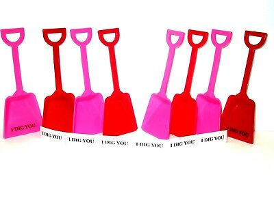 250 Small Mix Red & Pink Toy Plastic Shovels & I Dig You Stickers Made USA*