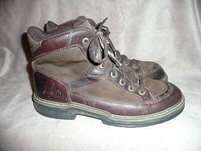 Wolverine Brown Leather Canvas Boots Soft Toe Men's Size 10.5 EW