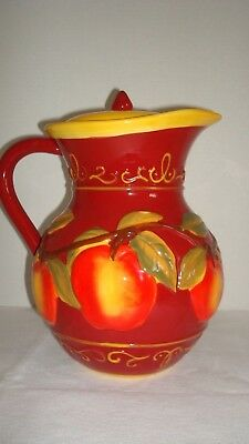 Nonni's Biscotti Cookie Jar - handpainted Apples, Red & Yellow Pitcher - MINT!