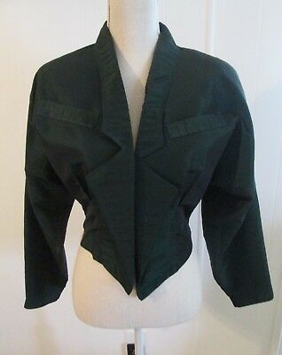 Vintage Victorian Steampunk Forest Green Taffeta Jacket Size Small