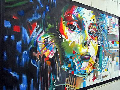 Large Urban Princess Girl Face Oil Painting Street Art  Canvas Graffiti Style