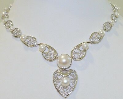 GENUINE! 5 - 13mm Freshwater Pearl, Filigree Solid Sterling Silver Necklace 925!